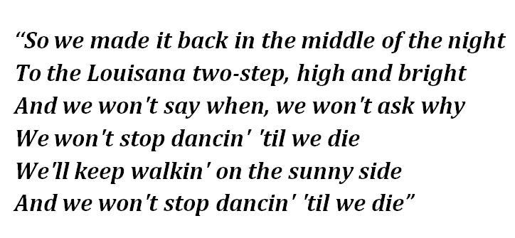 "Lyrics of ""Dance Till We Die"""
