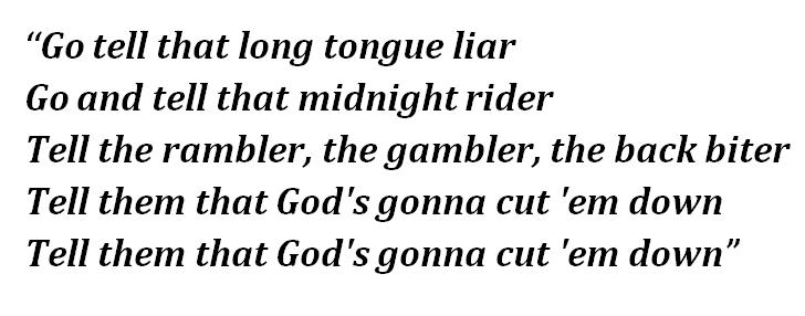 "Lyrics of ""God's Gonna Cut You Down"""