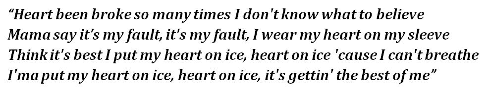 """Lyrics of """"Heart on Ice"""""""