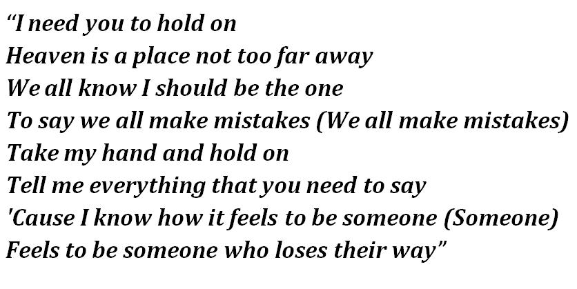 "Lyrics of ""Hold On"""