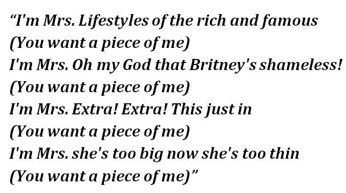 "Lyrics of ""Piece of Me"""