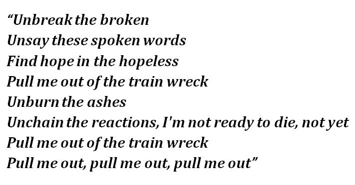 "Lyrics of ""Train Wreck"""
