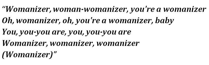 "Lyrics of ""Womanizer"""