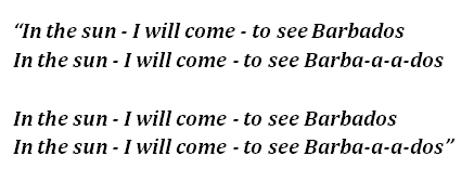 "Lyrics of ""Barbados"""
