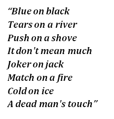 "Lyrics of ""Blue on Black"""