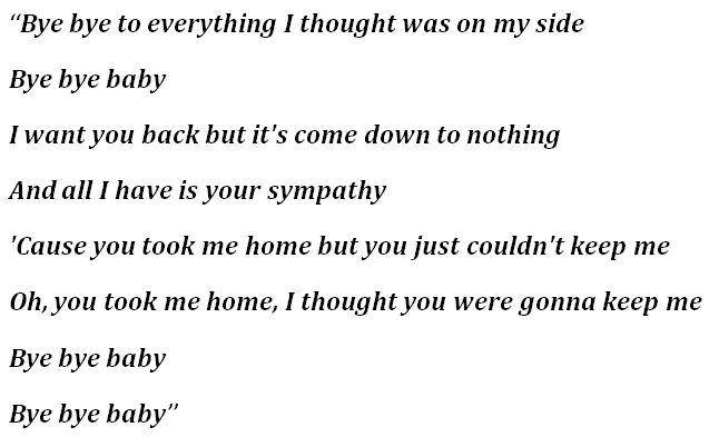 """Lyrics for """"Bye Bye Baby"""""""