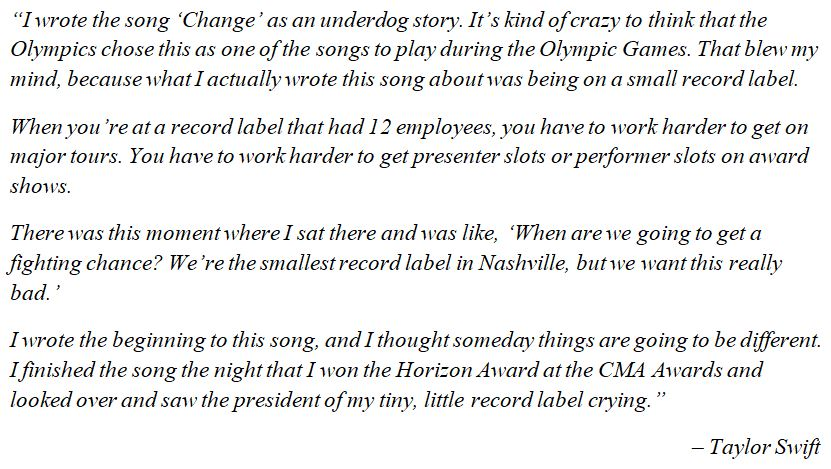 "Taylor Swift discusses ""Change"""
