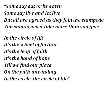 "Lyrics of ""Circle of Life"""