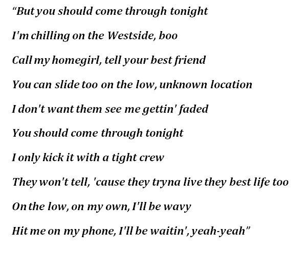 """Lyrics for """"Come Through"""""""