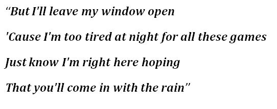 """Lyrics for """"Come in with the Rain"""""""