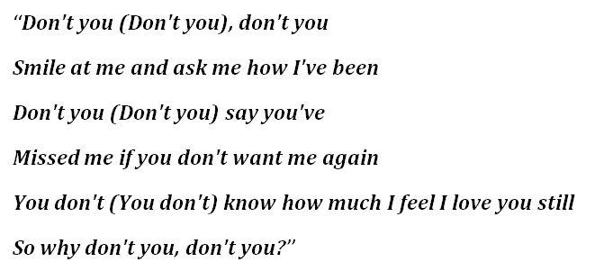 "Lyrics for ""Don't You"""