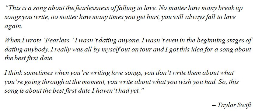 "What Taylor Swift said about ""Fearless"""