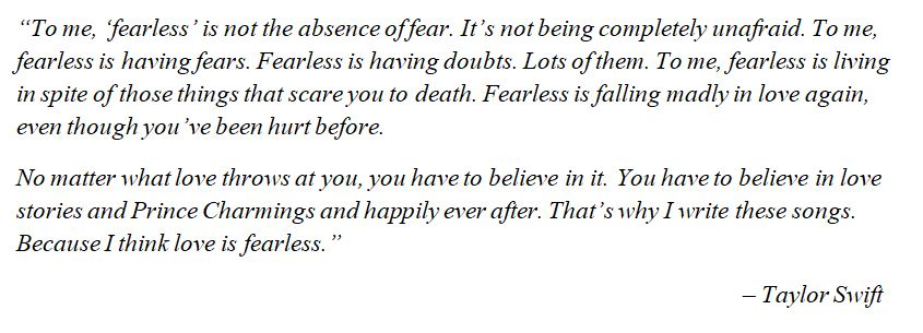 "Taylor Swift's thoughts on ""Fearless"""