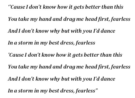 "Lyrics of ""Fearless"""
