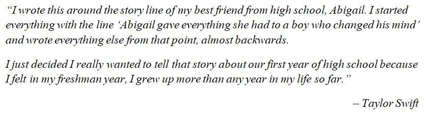 """Taylor Swift explains """"Fifteen"""""""