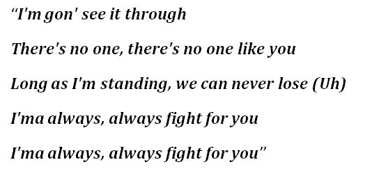 """Lyrics for """"Fight For You"""""""