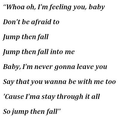 "Lyrics for ""Jump Then Fall"""
