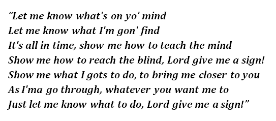 "Lyrics of ""Lord Give Me a Sign"""