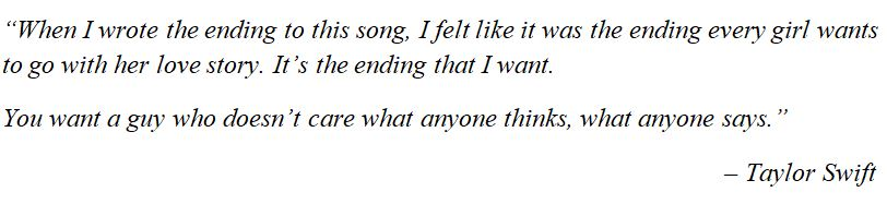 "What Taylor Swift said about ""Love Story"""