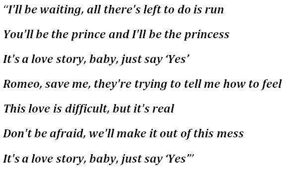 "Lyrics for ""Love Story"""
