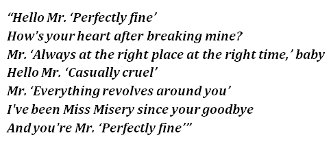 "Lyrics of ""Mr. Perfectly Fine"""