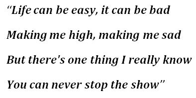 """Lyric for """"Never Stop The Show"""""""