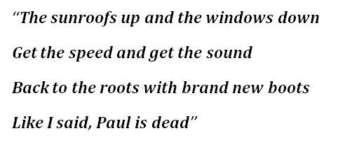 """Lyrics to """"Paul Is Dead"""""""