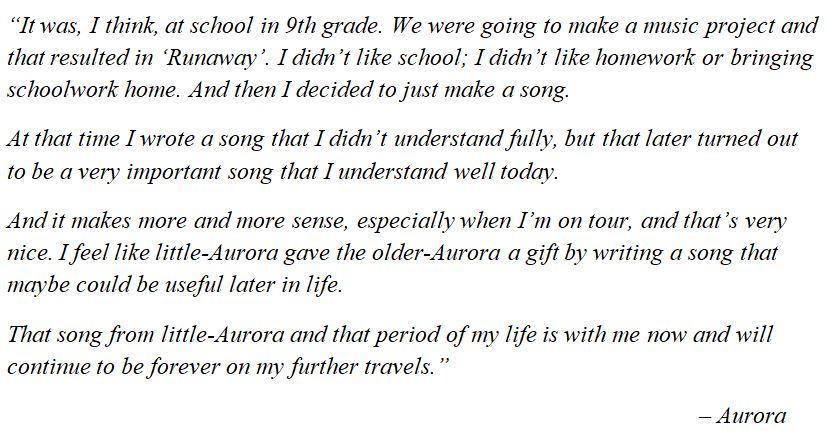 "Aurora explains ""Runaway"""