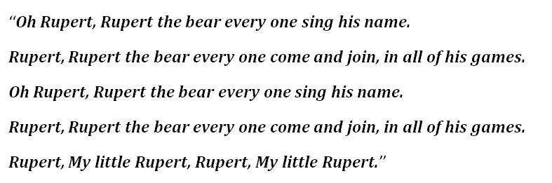 """Lyrics to """"Rupert"""" by Jackie Lee"""