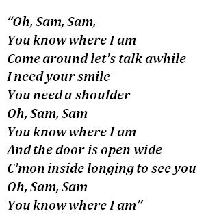 """Lyrics of """"Sam"""""""