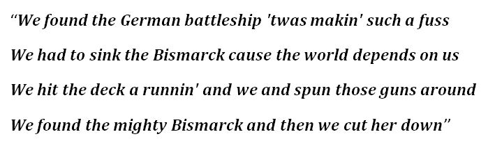 "Lyrics for ""Sink the Bismarck"""