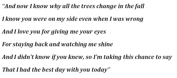 "Lyrics for ""The Best Day"""