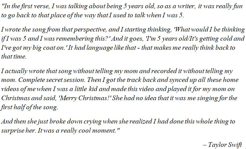 """Taylor Swift discusses """"The Best day"""""""