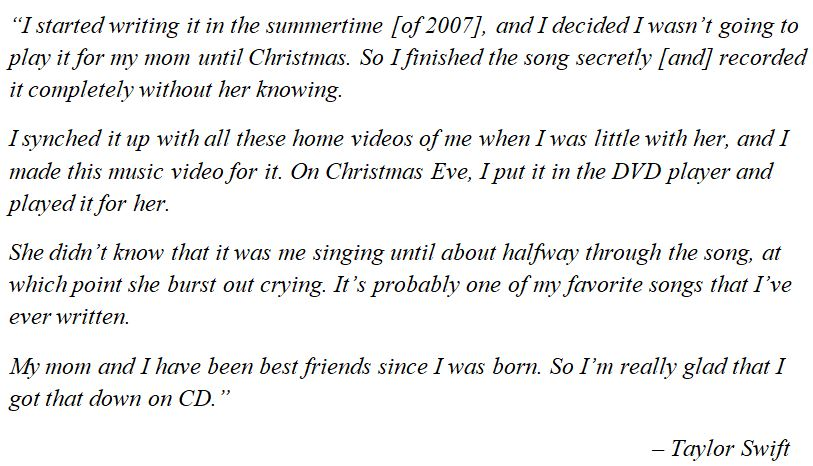 """Taylor Swifts talks about """"The Best Day"""""""