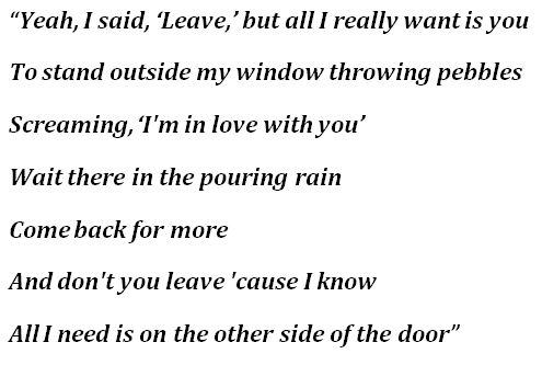 """Lyrics for """"The Other Side of the Door"""""""