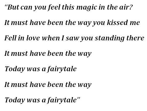 """Lyrics for """"Today Was a Fairytale"""""""