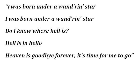 """""""Wand'rin' Star"""" Lyrics"""