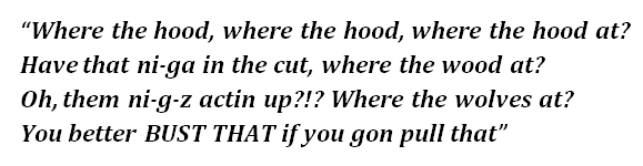 "Lyrics of ""Where the Hood At?"""