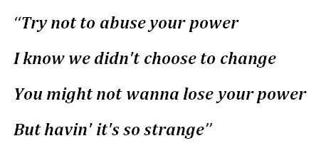"Lyrics to ""Your Power"""