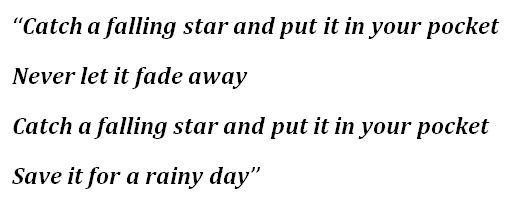 """Perry Como's """"Catch a Falling Star"""" Lyrics"""