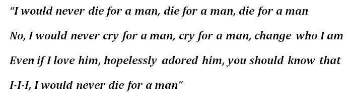 "Lyrics for ""Die For A Man"""