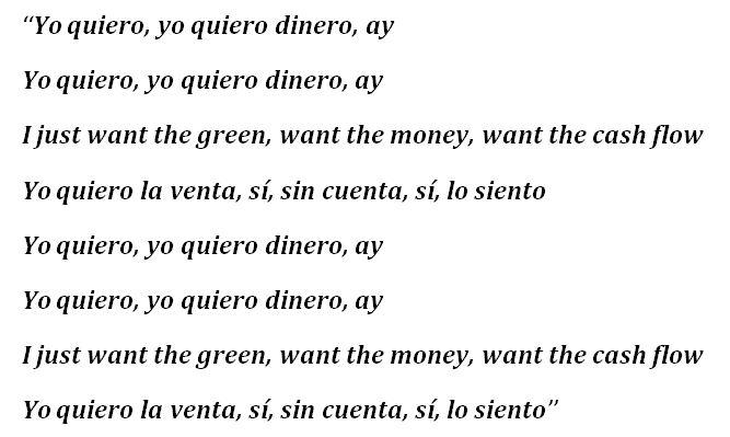 """Lyrics to """"Dinero"""" by Jennifer Lopez"""