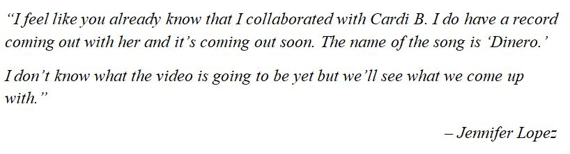 "Jennifer Lopez talks about ""Dinero"""