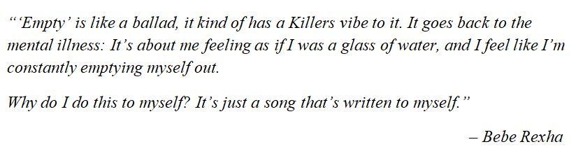 """Bebe Rexha explains """"Empty"""""""