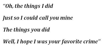 """Favorite Crime"" Lyrics"