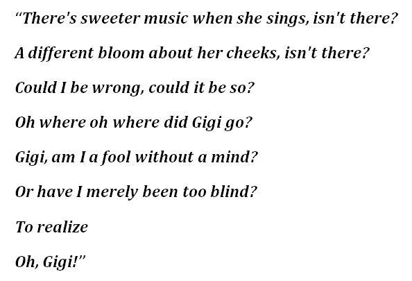 """""""Gigi"""" Lyrics"""