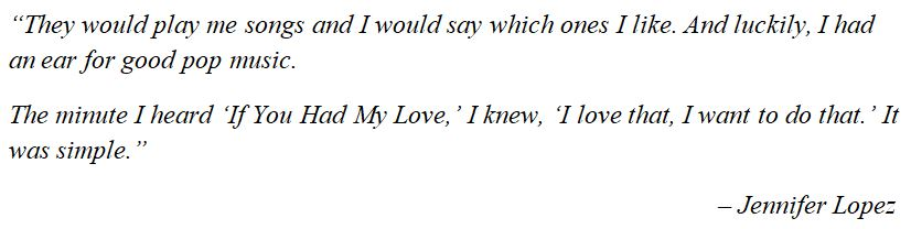 """Jennifer Lopez discusses """"If You Had My Love"""""""