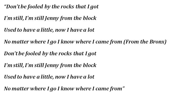 """""""Jenny From the Block"""" Lyrics"""