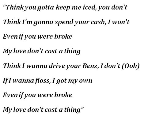 """lyrics to """"Love Don't Cost a Thing"""""""