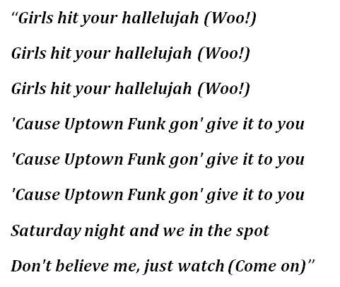 "Lyrics to ""Uptown Funk"""